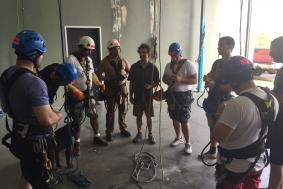 Nine students grouped together to train for rope access training