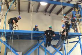 Six students preparing for IRATA rope access training certification