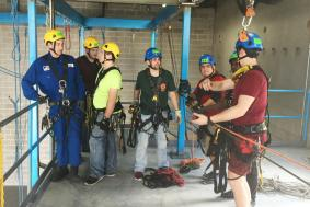 Students preparing for rope access training course