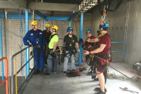 Students are beginning to work on SPRAT certification at rope access training facility