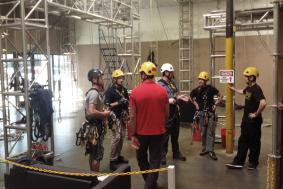 Rope access trainees prepare for training course