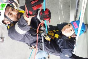 Students working together on rope access training